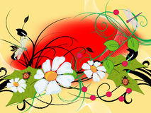 Ornament. Colorful year flowerses and insect -an illustration Stock Photography