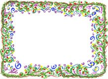Ornament. Watercolour hand drawn picture - frame with pattern Stock Photography