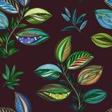 ornament abstrakcyjne ilustracja kolorowa Akwarela rysunek li?cie r??ni kolory Liście i gałąź dla projekta ilustracja wektor