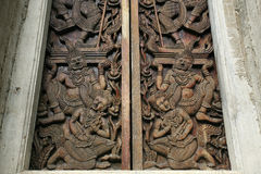 Ornament: Ancient art pattern on wooden door Stock Image