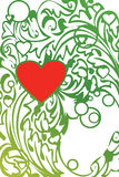 Ornament And Red Heart Royalty Free Stock Photos