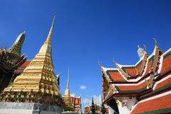 Ornament: architecture landscape of thai temple. Ornament: architecture landscape  against blue sky at Wat Phra Kaew, Thailand Stock Photography