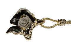 Ornament as a rose with jewels. On a white background it is isolated Royalty Free Stock Photography