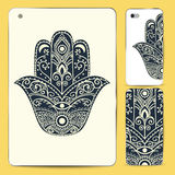 Ornament beautiful card. Ornament card with hamsa. Geometric circle element made in vector royalty free illustration