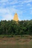 Ornament: beautiful landscape of gold pagoda. Ornament: beautiful landscape of gold Buddhagaya pagoda at Sangklaburi, Thailand Royalty Free Stock Image