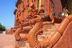Ornament: beautiful red naga banisters. At Samma Chanyawat temple in Bangkok, Thailand Stock Image