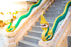 Ornament: beautiful red naga banisters. At Wat Chalong temple in Phuket Thailand Stock Photography