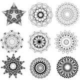 Ornament beautiful set with mandala Royalty Free Stock Photos