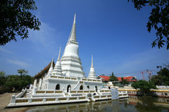Ornament: Beautiful white pagodas with clear sky Stock Photo