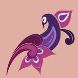 Ornament bird. Traditional indian violet colored ornament - bird Stock Photos