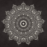 Ornament black white card with mandala Royalty Free Stock Photography