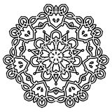 Ornament black white card with mandala. Royalty Free Stock Image