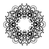 Ornament black white card with mandala. Royalty Free Stock Image