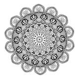 Ornament black white card with mandala Stock Photos
