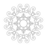 Ornament black white card with mandala. Stock Photography