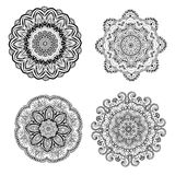Ornament black white card with mandala Stock Image