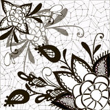 Ornament black and white with decorative elements. Of flowers, leaves, web, lace Stock Photos