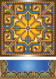 Ornament for the blue carpet.Pattern.Illustration. Stock Photos