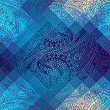 Ornament on blue pixel polygonal background. Stock Photos