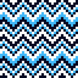 Ornament blue and white squares. Seamless pattern cubic blue, white and black squares royalty free illustration
