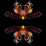 Ornament borders. Fire red and yellow borders flower ornament Royalty Free Stock Images