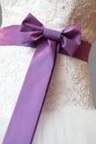 Ornament a bow on a wedding dress Royalty Free Stock Photos