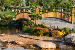Ornament Bridge Over Pond Stock Photos