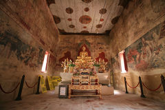 Ornament: Buddha statue with interior ancient pain. Ting inside temple at Chomphuwek wat in Nonthaburi province, Thailand Stock Photos