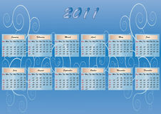 Ornament calender 2011 sunday-saturday. Illustration of a calender for the year 2011 Royalty Free Stock Photos