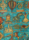 Ornament in carpet turkish. Carpet turkish ornament in fabrics background Royalty Free Stock Photos