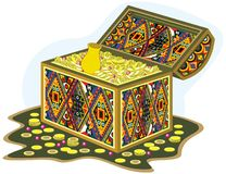 Ornament chest with gold fortune and money Royalty Free Stock Image