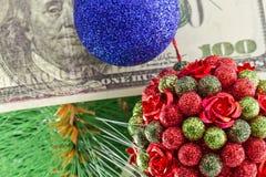 Ornament choinki pieniądze i piłki Obraz Royalty Free