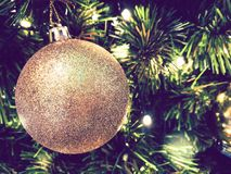 Ornament Christmas decorate at Christmas tree. lighting at silent night, holy night, Merry Christmas and Happy new year. royalty free stock photography