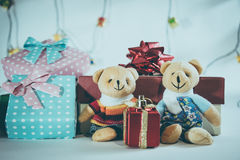 Ornament and Christmas item decorate in holy night. Ornament and couple lovely bear, Christmas items decorate for the holy night. Merry xmas and happy new year stock image