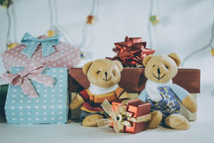 Ornament and Christmas item decorate in holy night. Ornament and couple lovely bear, Christmas items decorate for the holy night. Merry xmas and happy new year stock images