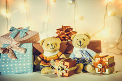 Ornament and Christmas item decorate in holy night. Ornament and couple lovely bear, Christmas items decorate for the holy night. Merry xmas and happy new year royalty free stock photo