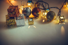Ornament and Christmas item decorate in holy night. Ornament and Christmas items decorate for the holy night. Merry xmas and happy new year night light stock photos