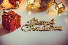 Ornament and Christmas item decorate in holy night. Ornament and Christmas items decorate for the holy night. Merry xmas and happy new year night light royalty free stock photos