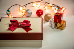 Ornament and Christmas item decorate in holy night. Present box with Ornament and Christmas items decorate for the holy night. Merry xmas and happy new year royalty free stock images
