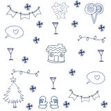 Ornament christmas set in doodle Royalty Free Stock Photography