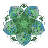 Ornament color card with mandala. Royalty Free Stock Images