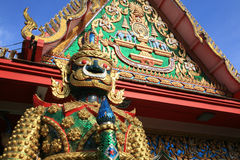 Ornament: Colorful giant guardian beside temple. Ornament: Colorful giant guardian beside Bua Kwan temple in Nonthaburi. Thailand Stock Image