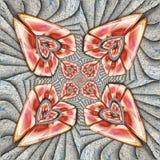 Ornament 3D plastic die tegel op textuur met glanzend ornament wordt opgesmukt royalty-vrije illustratie