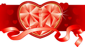 Ornament by day of St. Valentine. Precious heart and red tape Royalty Free Stock Photos