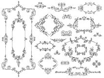 Ornament design elements black on white Stock Photo