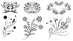 Ornament design elements set, vector. Floral patterns royalty free illustration