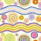 Ornament with dots, circles and waves. Contemporary art in australian aboriginal style. Seamless pattern. Hand painting Royalty Free Illustration