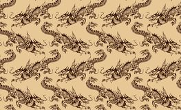 Ornament of the dragons. Pattern of Chinese dragons painted with ink vector illustration