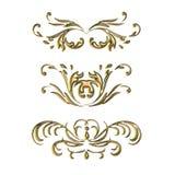 Ornament2e. Set vintage swirl ornament floral 3d gold elements design Royalty Free Stock Photo