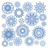 Ornament elements. Ornament flower doodle vector blue elements on white Stock Photos